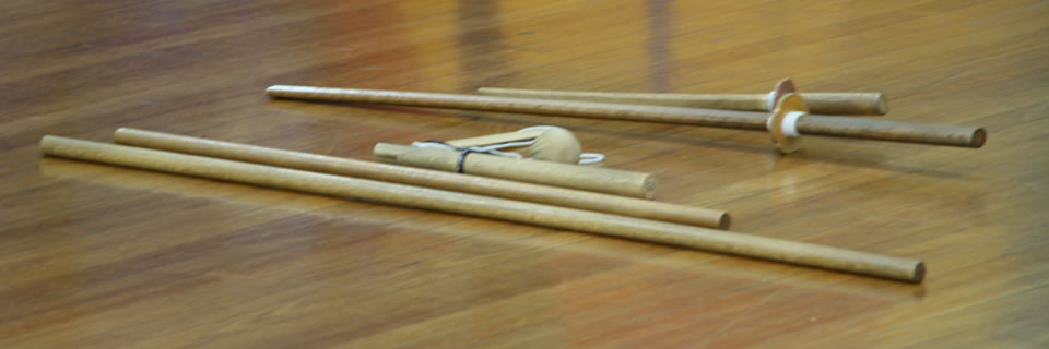 Jodo weapons in use during Sydney training
